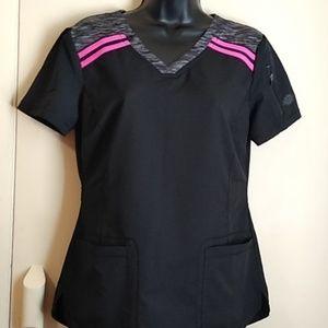 Dickies black/pink scrub top sz xs